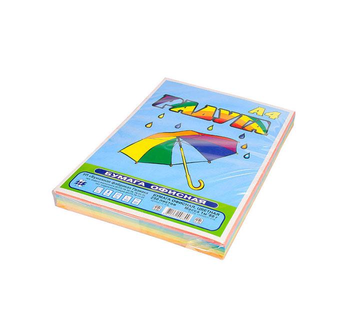 Бумага А4 250 листов 80 г/м цветная, РАДУГА
